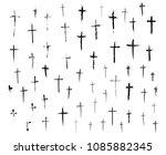 crucifix cross hand drawn... | Shutterstock .eps vector #1085882345