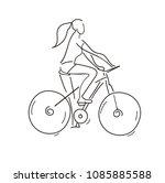 girl riding a bike. cycling.... | Shutterstock .eps vector #1085885588