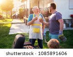 elderly father and mature son... | Shutterstock . vector #1085891606