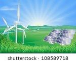 illustration of wind turbines... | Shutterstock .eps vector #108589718
