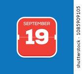 september 19 calendar flat icon