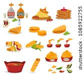 mexican food vector cartoon... | Shutterstock .eps vector #1085922755