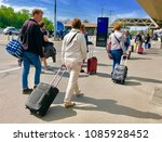 people walking from the bus... | Shutterstock . vector #1085928452