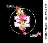 summertime floral poster.... | Shutterstock .eps vector #1085931545