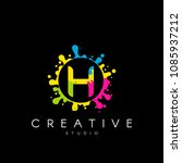 letter h logo with colorful... | Shutterstock .eps vector #1085937212