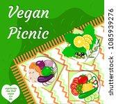 vegan picnic in the open air.... | Shutterstock .eps vector #1085939276