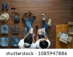 top view of man using smart... | Shutterstock . vector #1085947886