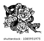 tattoo with rose and snake.... | Shutterstock .eps vector #1085951975