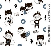 seamless pattern with cute boy... | Shutterstock .eps vector #1085957702