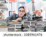 demanding boss pointing to his...   Shutterstock . vector #1085961476