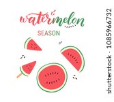 watermelon sliced hand drawn... | Shutterstock .eps vector #1085966732