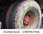 large truck wheels with clay... | Shutterstock . vector #1085967446