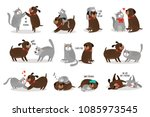 Stock vector dog and cat together funny dog with cat are best friends vector illustration cartoon pets with 1085973545