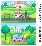 hot dog ice cream street carts... | Shutterstock .eps vector #1085975606