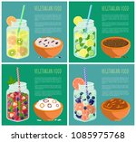 vegetarian food posters set... | Shutterstock .eps vector #1085975768