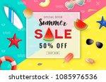 summer sale promotion banner...   Shutterstock .eps vector #1085976536