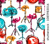 seamless pattern with drum kit... | Shutterstock .eps vector #1085983016
