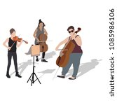 young girs violinist and... | Shutterstock .eps vector #1085986106