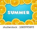 orange fruit slice around blue... | Shutterstock . vector #1085995895