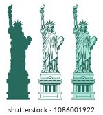 set of the statue of liberty.... | Shutterstock .eps vector #1086001922
