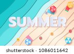 top view blue sea and beach... | Shutterstock .eps vector #1086011642