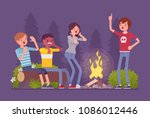 spooky story near campfire fun. ...   Shutterstock .eps vector #1086012446