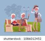 active seniors in park. retired ... | Shutterstock .eps vector #1086012452