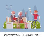 grandparents and grandson in... | Shutterstock .eps vector #1086012458