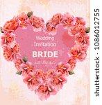 wedding invitation roses card... | Shutterstock .eps vector #1086012755