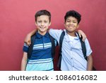 best children friends standing... | Shutterstock . vector #1086016082