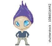 cute vector character in pixel... | Shutterstock .eps vector #1086016442
