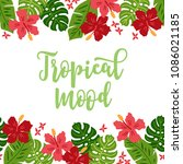 jungle greeting card with... | Shutterstock .eps vector #1086021185