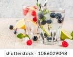 various berry lemonade or... | Shutterstock . vector #1086029048