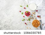 healthy breakfast ingredients.... | Shutterstock . vector #1086030785