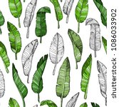 seamless leaves pattern with... | Shutterstock .eps vector #1086033902