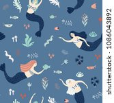 seamless pattern with cute... | Shutterstock .eps vector #1086043892