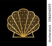decorative golden shell on a... | Shutterstock .eps vector #1086046055