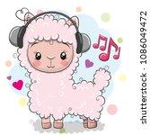 cute cartoon alpaca with... | Shutterstock .eps vector #1086049472
