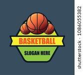 basket ball logo with text... | Shutterstock .eps vector #1086055382