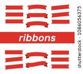 flat vector ribbons banners... | Shutterstock .eps vector #1086056375