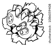 monster or animal gamer hand or ... | Shutterstock .eps vector #1086059408