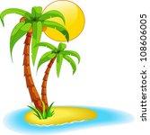 palms on island | Shutterstock .eps vector #108606005