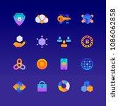 set of blockchain. vector... | Shutterstock .eps vector #1086062858