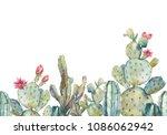 watercolor cactus seamless... | Shutterstock . vector #1086062942