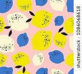 lemon seamless pattern vector... | Shutterstock .eps vector #1086068618
