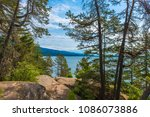 the sea is visible looking out... | Shutterstock . vector #1086073886
