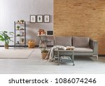 grey room with grey furniture... | Shutterstock . vector #1086074246