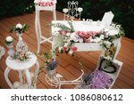 beautiful wedding decoration... | Shutterstock . vector #1086080612