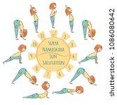 cute yoga kid. yoga... | Shutterstock .eps vector #1086080642