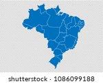 brazil map   high detailed blue ... | Shutterstock .eps vector #1086099188